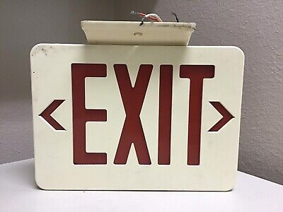 VINTAGE RED LIGHTED EXIT SIGN ~ DOUBLE SIDED w/ ARROWS TOP MOUNTED WITH WIRES
