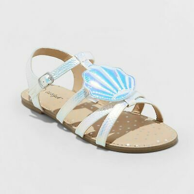 df0e79b46 NWT CAT & Jack Girls Size 4 Silver White Thong Sandals - $13.99 ...
