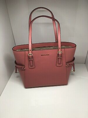 8f50ad219bbb3 NWT MICHAEL KORS Patent Leather Jet Set Travel Carryall Tote Oyster ...