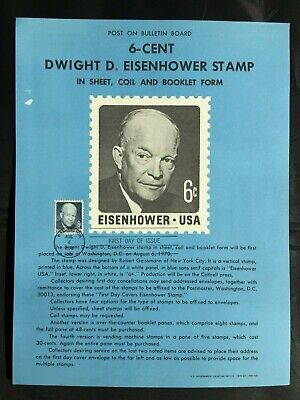 Usa 6 Cent D Wight Eisenhower Stamp First Day Of Issue Aug