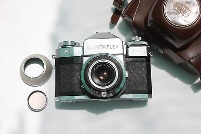 Zeiss Ikon Contaflex Slr Camera With Pantar 45Mm F2.8 Lens Skylight Filter ,Cas
