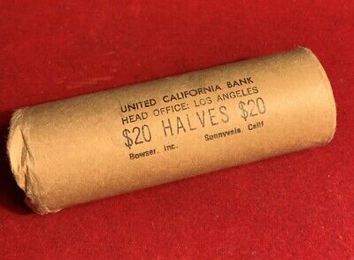 1964 50C Kennedy Half Dollar Original Bank Shotgun Roll (40 Coins)