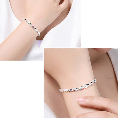 Elegant Women 925 Silver Plated Crystal Chain Bracelet Cuff Bangle Jewelry Gifts