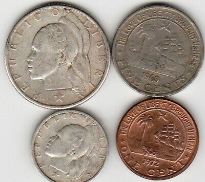 4 different world coins from LIBERIA