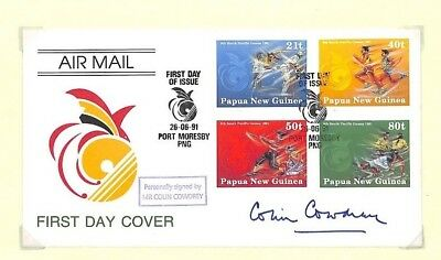 HH319 1991 FDC FDI Papua New Guinea Port Moresby Signed Cover *Lord Cowdrey* PTS