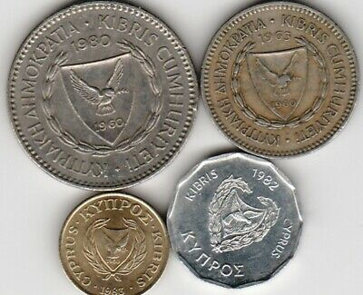 4 different world coins from CYPRUS