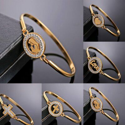 Women Gold Stainless Steel Love Heart Cuff Bracelet Bangle Mother Family Jewelry