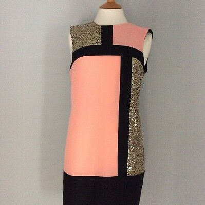 ea1b2b0fb41 MARKS & SPENCER M&S T428025 Colour Block Sequin Sparkly Tunic Dress ...