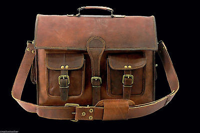 "Men's Retro Leather Messenger Shoulder Bag Satchel 16"" Laptop Briefcase Attache"