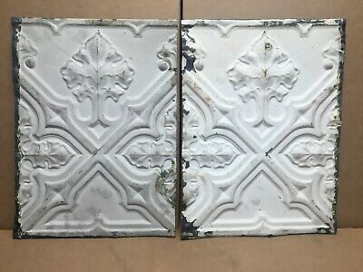 "2pc Lot of 16"" by 12"" Antique Ceiling Tin Vintage Reclaimed Salvage Art Craft"