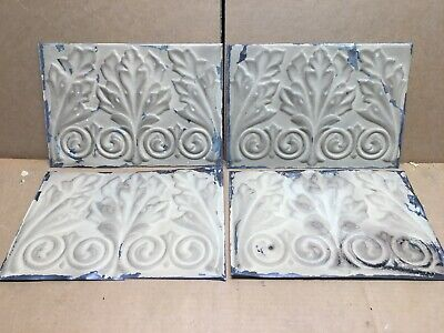 "4pc Lot of 11"" by 8"" Antique Ceiling Tin Vintage Reclaimed Salvage Art Craft"