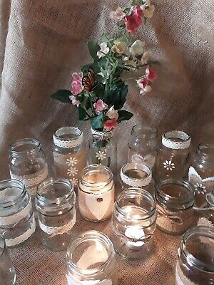 12Wedding Table Centrepiece Decorations candle/Flower Jars Rustic/Vintage Style