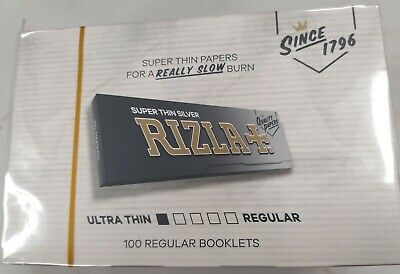 Full Box of 100 Booklets Rizla Silver Rolling Standard Cigarette Papers Free P&P