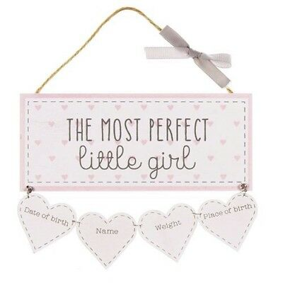 THE MOST PERFECT LITTLE GIRL Plaque New Baby Keepsake Petit Cheri Nursery Decor