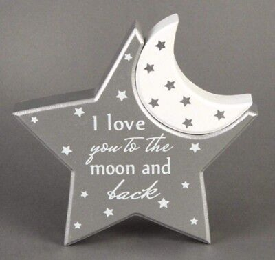 Twinkle LOVE YOU TO THE MOON New Baby MOON STAR Mantel Plaque Nursery Decor GIFT