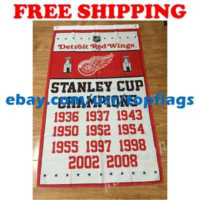 Souvenir Detroit Red Wings 1998 Stanley Cup Championship Hockey Team Banner Red Wings Flag.