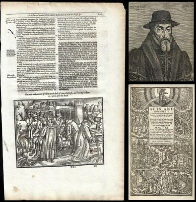 RARE!! 1641 FOXE'S BOOK OF MARTYRS, JOHN WYCLIFFE 'leaf' with WOODCUT - To Frame