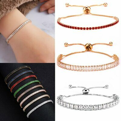 CZ Crystal Silver Rose Gold Slider Bracelet Adjustable Bangle Women Card Jewelry