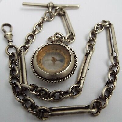 Superb Rare English Antique 1899 Solid Silver Fancy Link Albert Chain & Compass