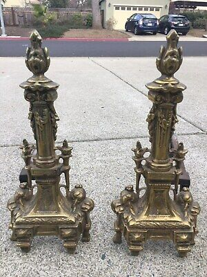 """Pair of Antique French Brass Andirons Fire Dogs Chenets - 13"""" Gorgeous !"""