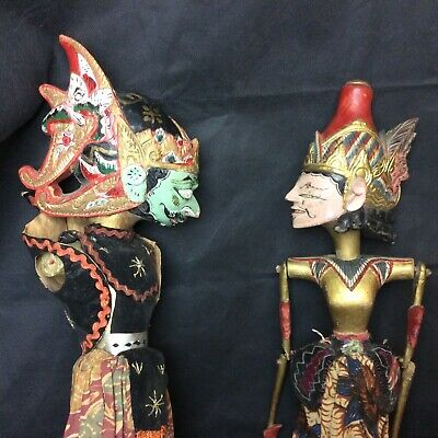 A Pair Of Vintage Thai / Indonesian Rod Shadow Puppets ( 1 For Restoration)