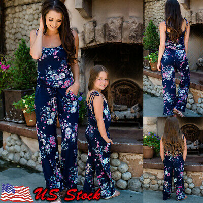 943d5db1801e US STOCK Mother and Daughter Floral Matching Mom Girls Jumpsuit Family  Romper