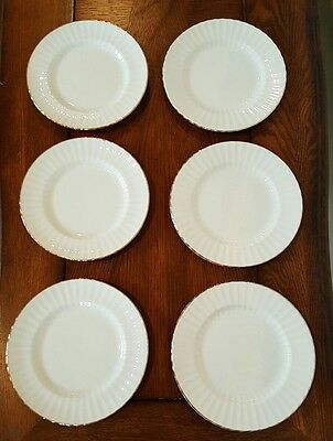 Set of 6 Royal Standard China Dessert Plates White w/Gold Trim