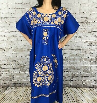 917381a52a7c1 XL Hand Embroidered Puebla Peasant Mexican Pueblo Dress Tunic Boho Extra  Large