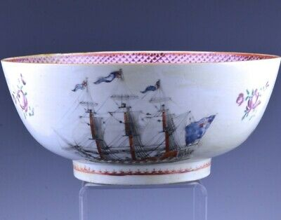 VERY RARE c1780 CHINESE EXPORT FAMILLE ROSE SHIP CHRISTIAN CRUSADERS PUNCH BOWL