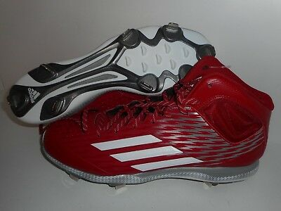 detailed look bc614 69137 Adidas PowerAlley 3 Mid Metal Baseball Cleats Red S84785 Men s Size 14