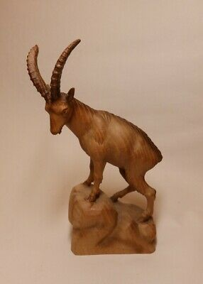 Beutifully Carved Wooden Ibex Figure