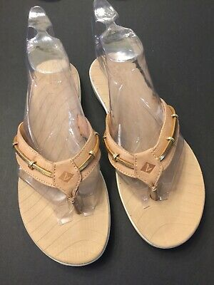 b6211f358 Sperry Topsider Women s Thong Sandals Flip Flops Tan   Gold Leather Size ...