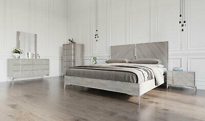 Modern Gray Lacquer Bedroom Furniture Oroville 5 Pieces King Platform Bed Set