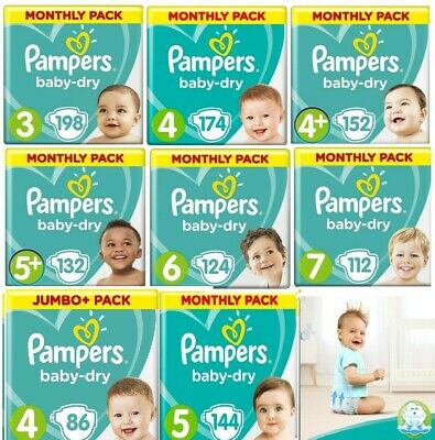 Pampers Nappies Baby Dry AIR Size 3, 4, 4+ 5 5+,6 ,7,Diaper Monthly SAVING PACK