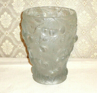 "Czech Art Glass BAROLAC JOSEF INWALD CHERRIES Vase 7"" Frosted"