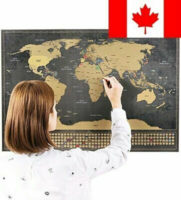 Scratch Off World Map Poster - Scratchable Large Size Portable Framable World...