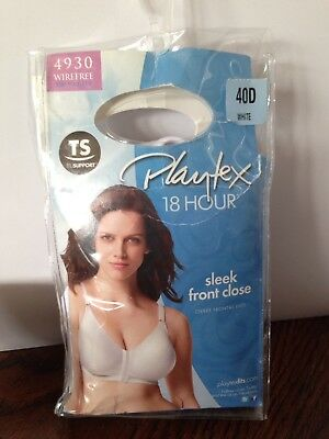 0bb3c728eb5f4 PLAYTEX 18 HOUR Bra Sleek Front Close Wirefree White 40 D NEW IN PKG  4930