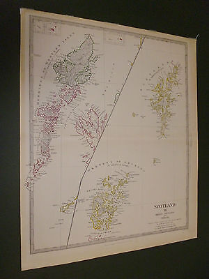 100% Original Shetland Orkney Map By Sduk C1834 Vgc Low Postage Hand Coloured