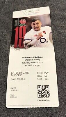 England Vs Italy Used Ticket Stub Six Nations Rugby 2019 Twickenham Stadium