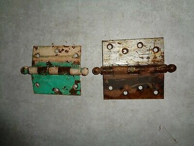2 Vintage Heavy Grade Ball Top Stanley Hinges ##