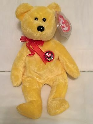 TY Beanie Baby - TRADEE the Yellow Bear - Pristine with Mint Tags - RETIRED