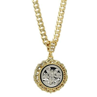 """Mighty Lion Mens Iced Cz Round Pendant 24/"""" Chain 14k Gold Plated Hip Hop Jewelry"""