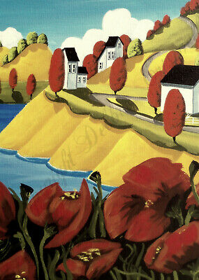 Landscape seascape poppy cliff water ocean lake  ACEO Giclee art print Criswell