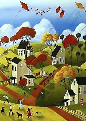 Horse Country Autumn landscape Farmhouse decor art Criswell ACEO Giclee print
