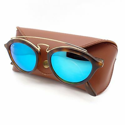 b3f39a1a0c Ray Ban 4257 6092 55 50 Matte Havana Gold Blue Mirror New Authentic  Sunglasses r