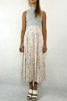 VINTAGE Katies 80s Floral Pale Pink Pleat Skirt Size 14