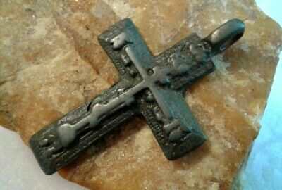 "ANTIQUE 18-19 CENTURY LARGE ORTHODOX ""OLD BELIEVERS"" CROSS w/ PSALM 51 ON EDGE"