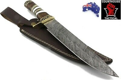 Handmade Bowie Knife Damascus Blade Walnut Wood Bone Brass Handle Leather Sheath