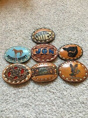 Vintage Assortment Of 7 Leather Western Belt Buckles Some Tony Lama Rodeo Angus