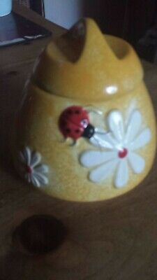 Yellow Ceramic Honey Pot. Ladybird & Daisy design. 11cm w x 12 cm h. Good cond